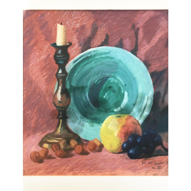 Vintage still life with fruit, plate, and candlestick against a sienna colored backdrop. Signed MR Harris and titled No....
