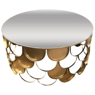 Paul Evans Style Silvered Scallop Coffee Table For Sale