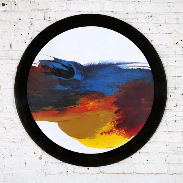 Awesome untitled round abstract acrylic painting signed by listed artist Ted R. Lownik. This painting is mounted on round...