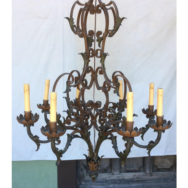 Antique Scrolling Iron Chandelier For Sale - Image 4 of 11