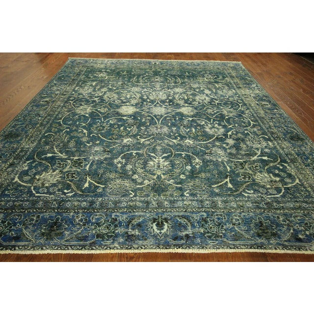 """Oriental Overdyed Tabriz Floral Rug - 9'2"""" x 10'2 - Image 3 of 11"""