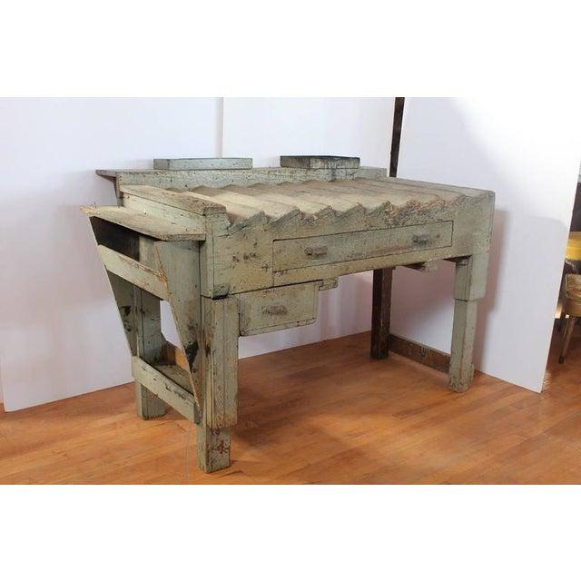 Unusual antique printer's working wood table/desk.