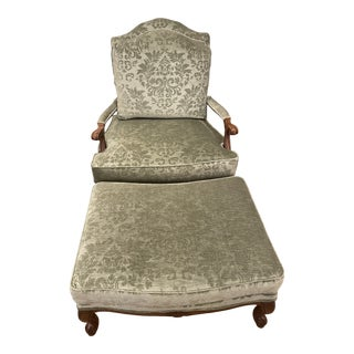 Bergere Ethan Allen Chair and Ottoman Set For Sale