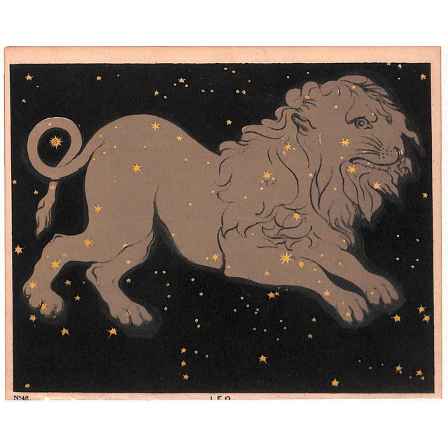 Figurative Astronomy, Constellation, Leo, Antique Matted Print, 1845 For Sale - Image 3 of 3