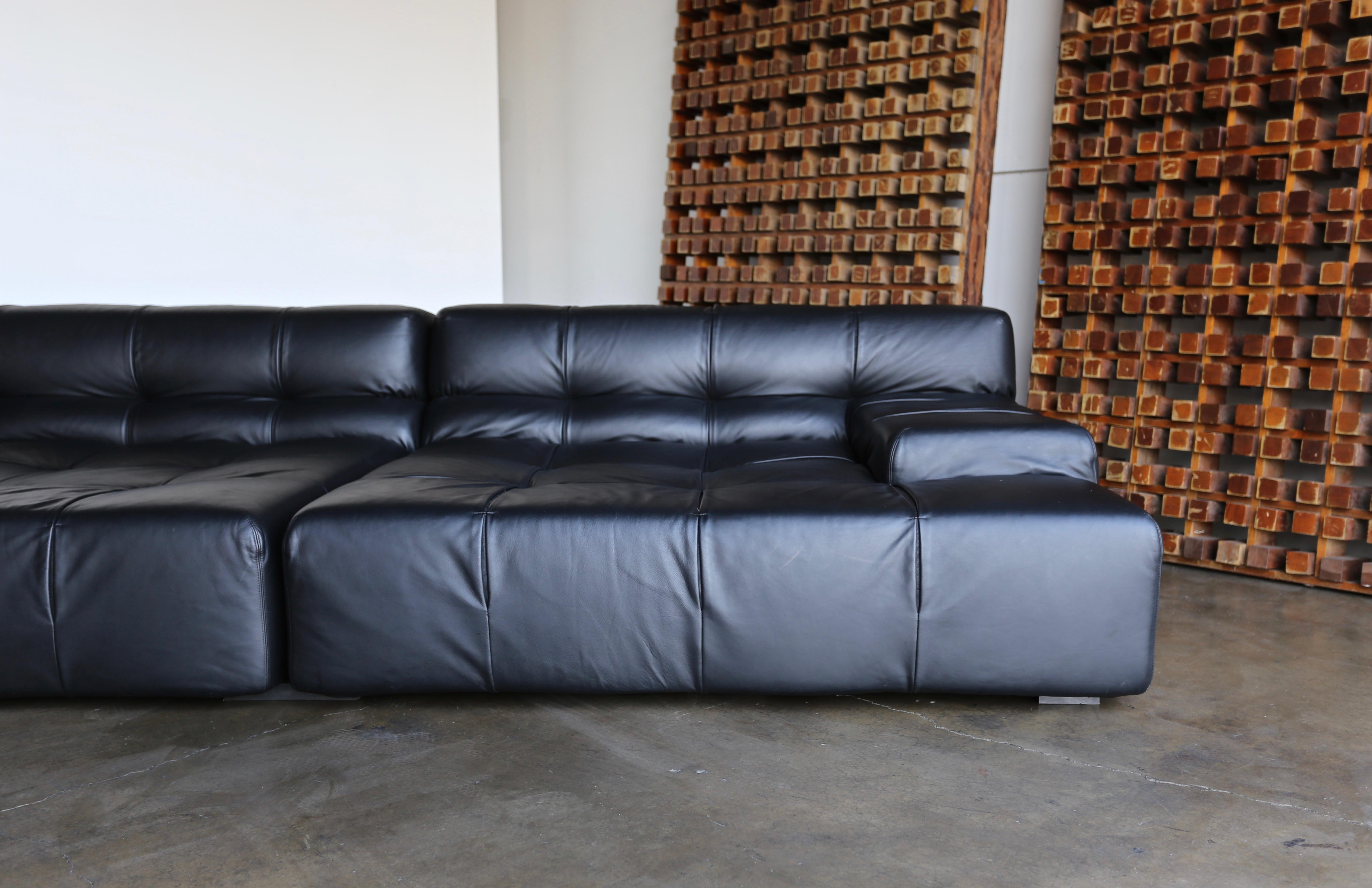Sophisticated B B Italia Tufty Time Leather Sofa By Patricia