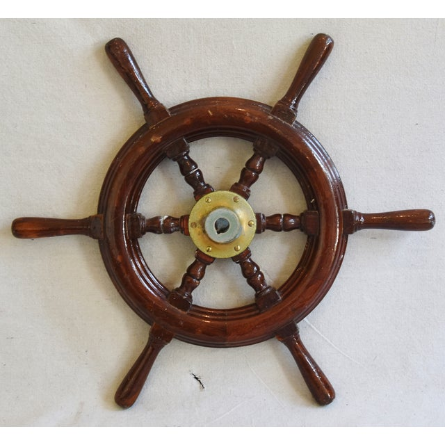 1950s Nautical Wood & Brass Ship's Wheel - Image 6 of 9