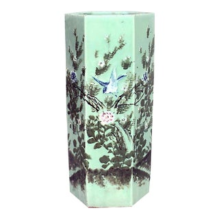 Asian Chinese Style Celadon Porcelain 6 Sided Umbrella Stand with Landscape Scene