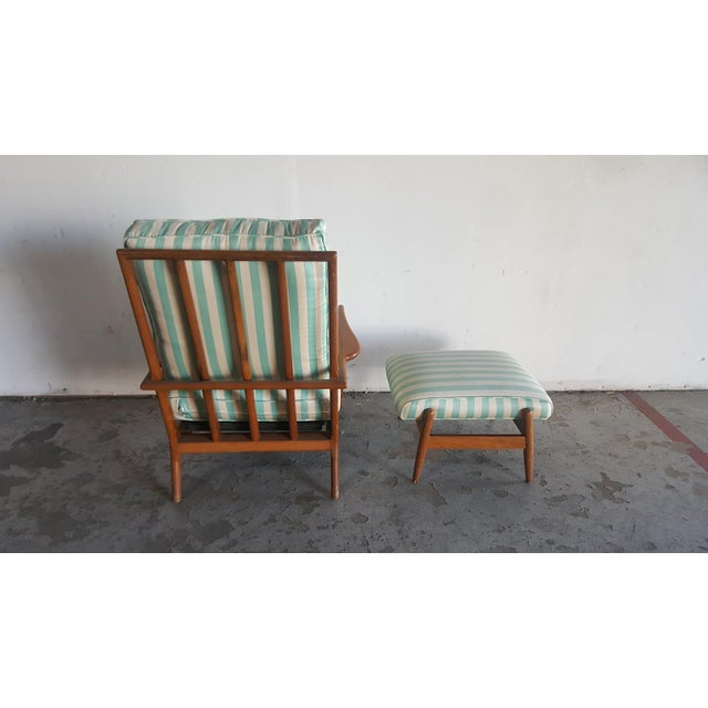Solid Walnut Lounge Chair & Ottoman - Image 7 of 11