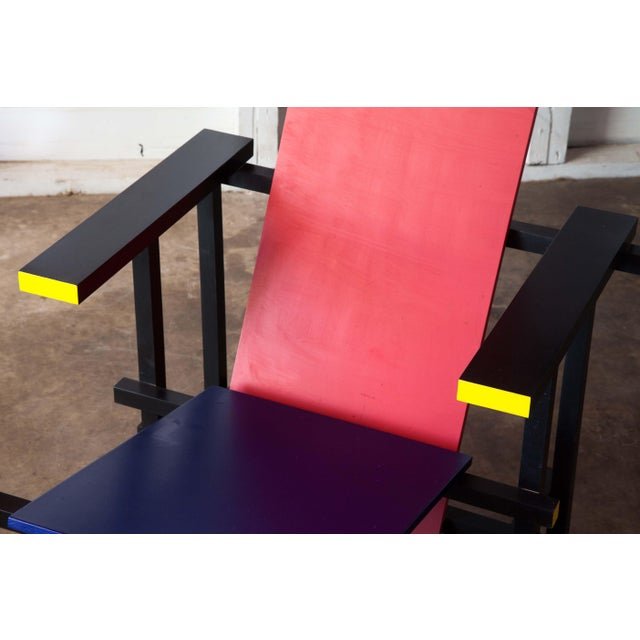 Modern Red & Blue Lounge Chair For Sale - Image 10 of 11