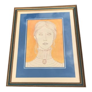 1972 Vintage Victorian Girl Portrait Painting For Sale