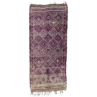 Late 20th Century Purple Beni M'Guild Moroccan Rug - 6′6″ × 14′7″ For Sale