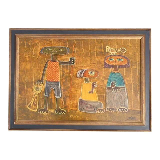 Original Vintage Post Modern Oil on Canvas-Signed-Raul Conti-Listed Latino Artist For Sale