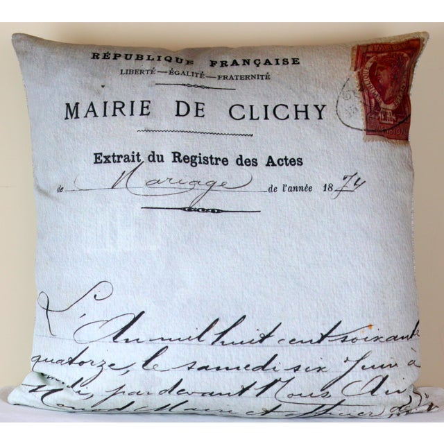 Paris Photo Pillow French Marriage Document Dated 1874 For Sale - Image 13 of 13