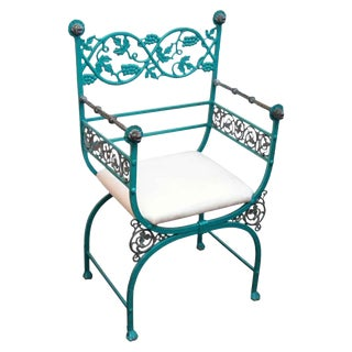 Late 20th Century Green Iron and Bronze Chair For Sale