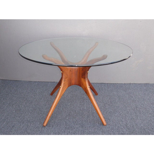 Danish Modern Organic Modernism Carved Walnut Pedestal Glass Top Dining Table For Sale In Los Angeles - Image 6 of 11