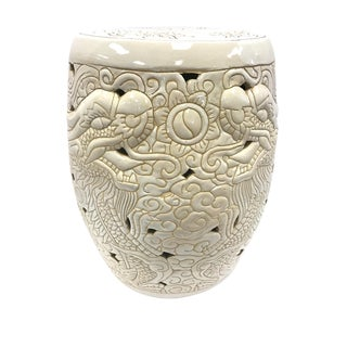 Chinese Porcelain Incised Dragon Garden Stool Seat For Sale