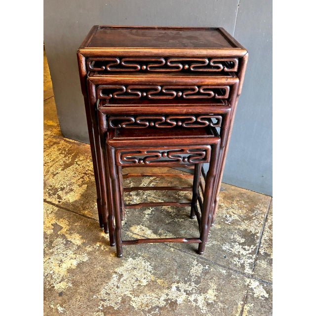 Asian Chinese Rosewood Nesting or Quartetto Tables - Set of 4 For Sale - Image 3 of 10
