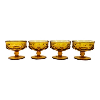 Vintage Amber Indiana Glass Kings Crown Coupe Glasses / Set of 4 For Sale