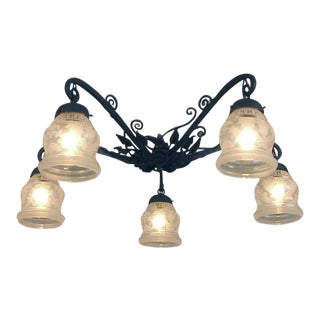 "French Wrought Iron Flush Mount Ceiling Fixture With Iridescent ""Lady"" Shades For Sale"