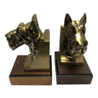 1960s Mid Century Modern Scotty Dog Brass Tone Bookends - a Pair For Sale