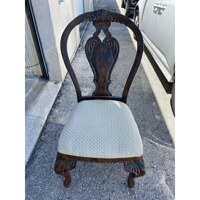 Brown Vintage Curved Carved Wood Chairs Set of 4 For Sale - Image 8 of 9