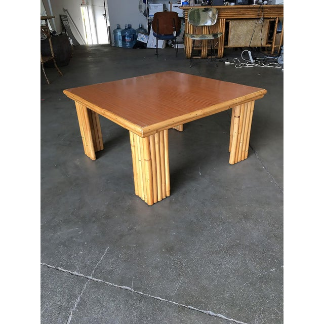 Mid-Century Modern Extra Wide Rattan Coffee Table With Formica Top For Sale - Image 3 of 8