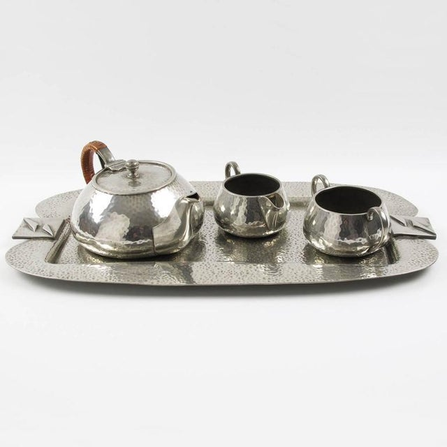 Refine English Art Nouveau polished pewter tea or coffee serving set with tray by Fenton Bros Ltd, Sheffield. Set includes...