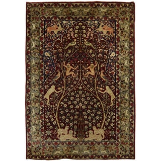 Antique Persian Tree of Life Kirman Lavar Rug For Sale