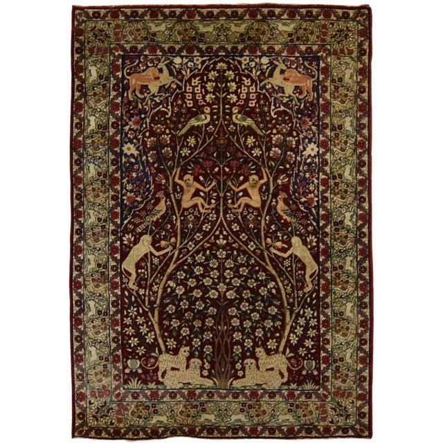 Antique Persian Tree of Life Kirman Lavar Rug - Image 1 of 3