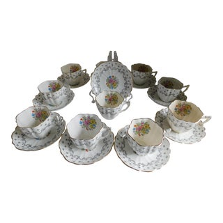 Victoria C & E English Porcelain Tea Set- Set of 10 For Sale