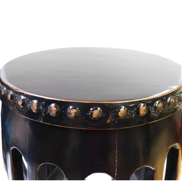 Chinese Black Round Barrel Wood Stool - Image 3 of 7