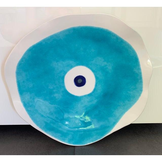 2010s Modern Mediterranean Handmade Glazed Pottery Platter, Evil Eye 2 For Sale - Image 5 of 8