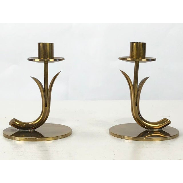 Gold 1950's Ystad Metall Brass Candleholders by Gunnar Ander - a Pair For Sale - Image 8 of 9