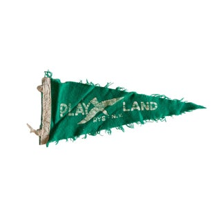 Vintage Rye Play Land Felt Flag Pennant For Sale