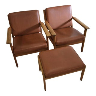 Mid-Century Modern Hans Wegner Lounge Chairs and Hocker