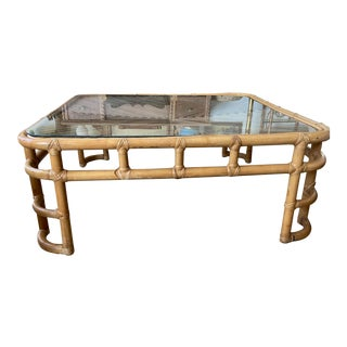 Boho Bamboo and Ratan Coffee Table With Glass Top For Sale
