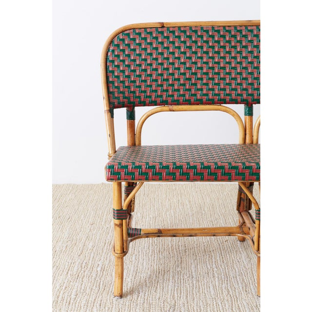 French Maison Gatti Rattan Bamboo Banquette Settee For Sale - Image 4 of 13