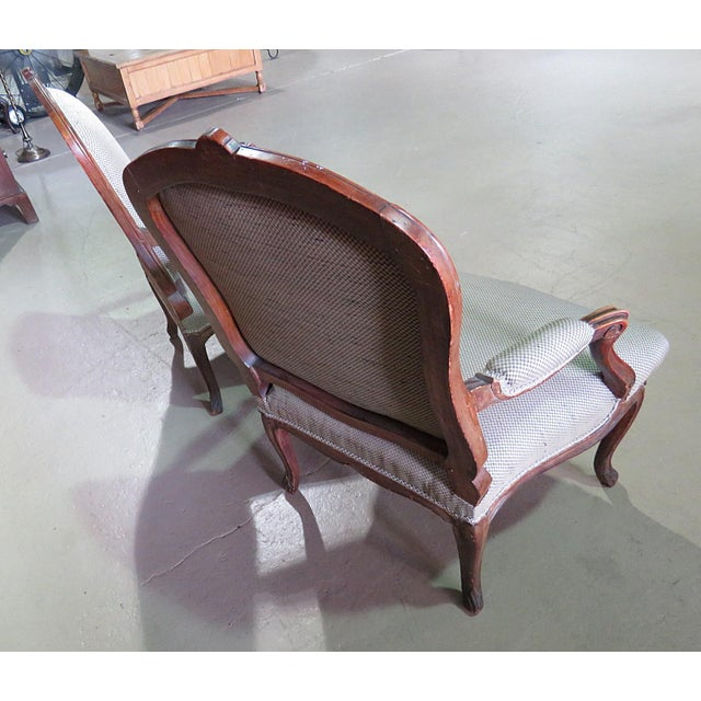 Wood Louis XV Style Fauteuil Chairs - a Pair For Sale - Image 7 of 8