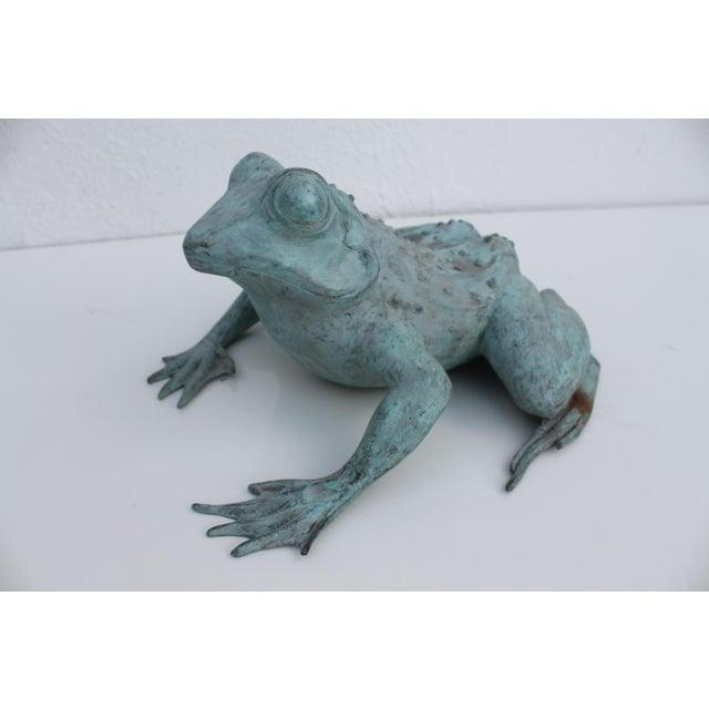 Vintage Bronze Frog Garden Statue For Sale - Image 4 of 8