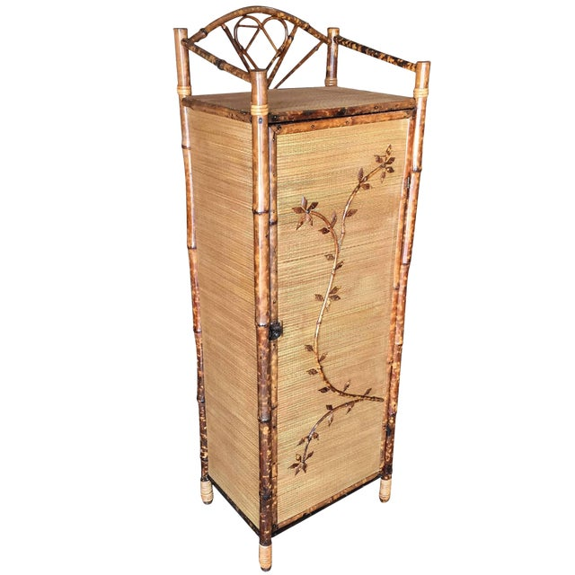 Restored Aesthetic Movement Tiger Bamboo Linen Cabinet With Rice Mat Covering For Sale