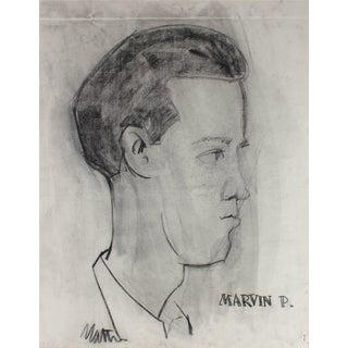 "Rip Matteson ""Marvin P."" Monochromatic Portrait Illustration of a Man in Charcoal, Circa 1945 Circa 1945 For Sale"