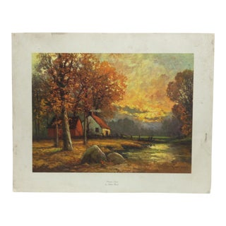 "Vintage Mid-Century ""Autumn Sunset"" Robert Wood Original Print For Sale"