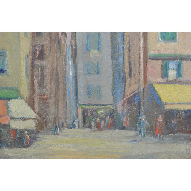 Yellow Vintage 1920s Oil Painting of Nice, France by Charles Bergfeldt For Sale - Image 8 of 13