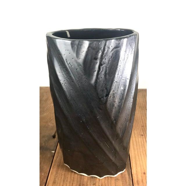 Vintage Black Glazed Hand Carved Ceramic Vessel For Sale - Image 10 of 10
