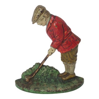 Antique Hubley Cast Iron Golfer Doorstop For Sale