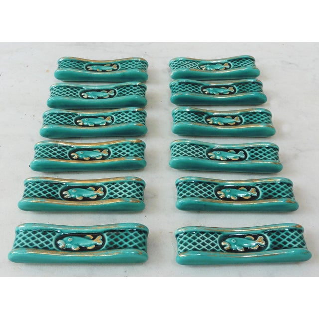 Green Majolica Knife Rests With Fish - Set of 12 For Sale - Image 5 of 5