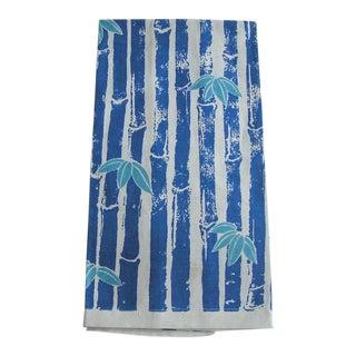 1950s Boho Chic Blue & Turquoise Mid Century Bamboo Tiki Linen Hand Tea Towel For Sale