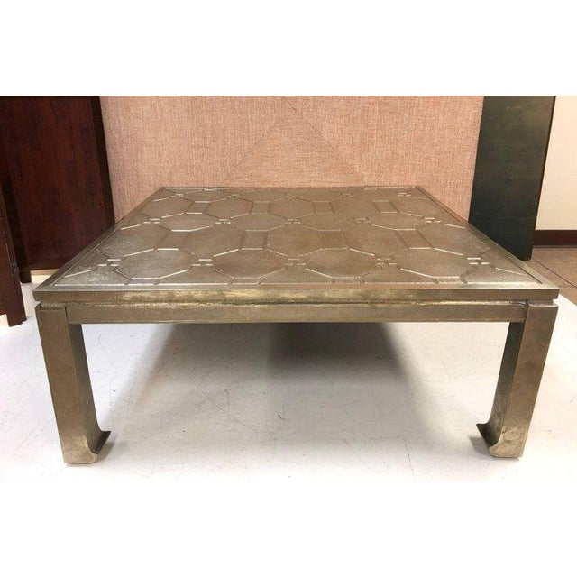Modern Silver Clad Coffee Table For Sale In New York - Image 6 of 6