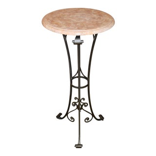 Maitland Smith Inlaid Marble Top Wrought Iron Plant Stand For Sale