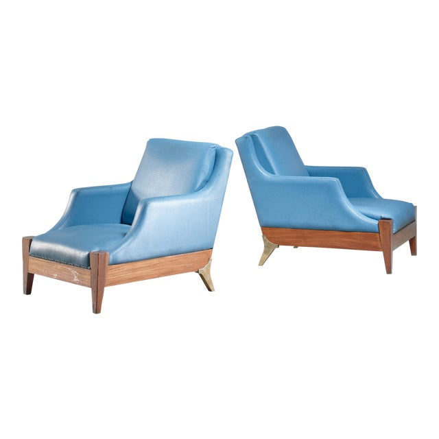 Melchiorre Bega Pair of Lounge Chairs, Italy, 1940s For Sale